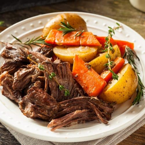 a plate of slow cooker pot roast