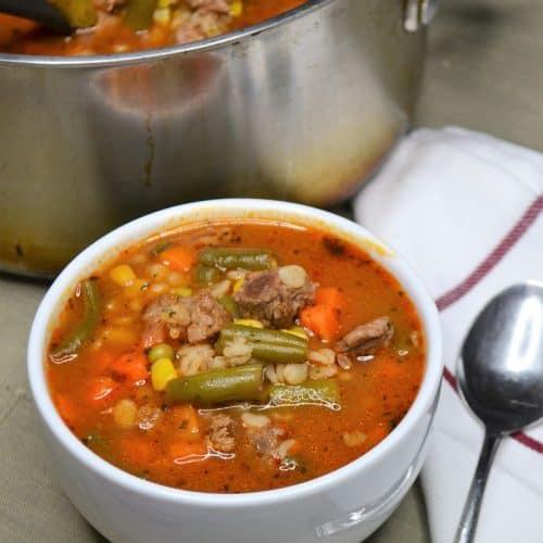Old Fashioned Beef Barley soup is comfort food but very pantry friendly to make anytime you want it.