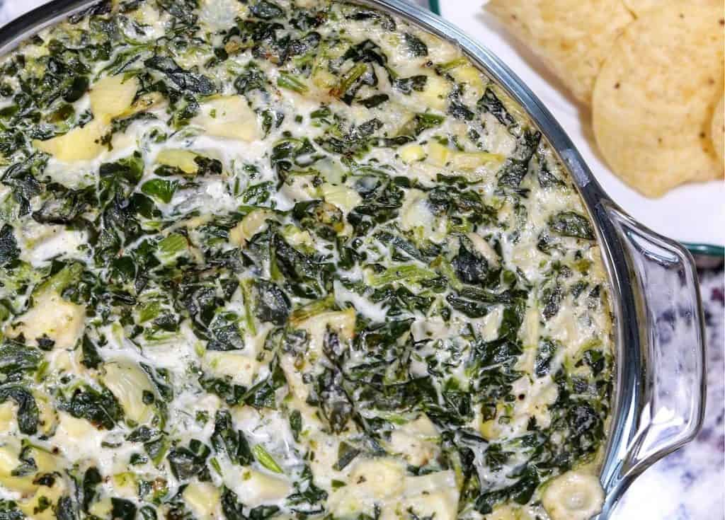 Baked Artichoke Spinach Dip in a Serving Dish