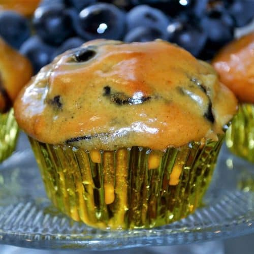 concorn grape muffin with peanut butter glaze