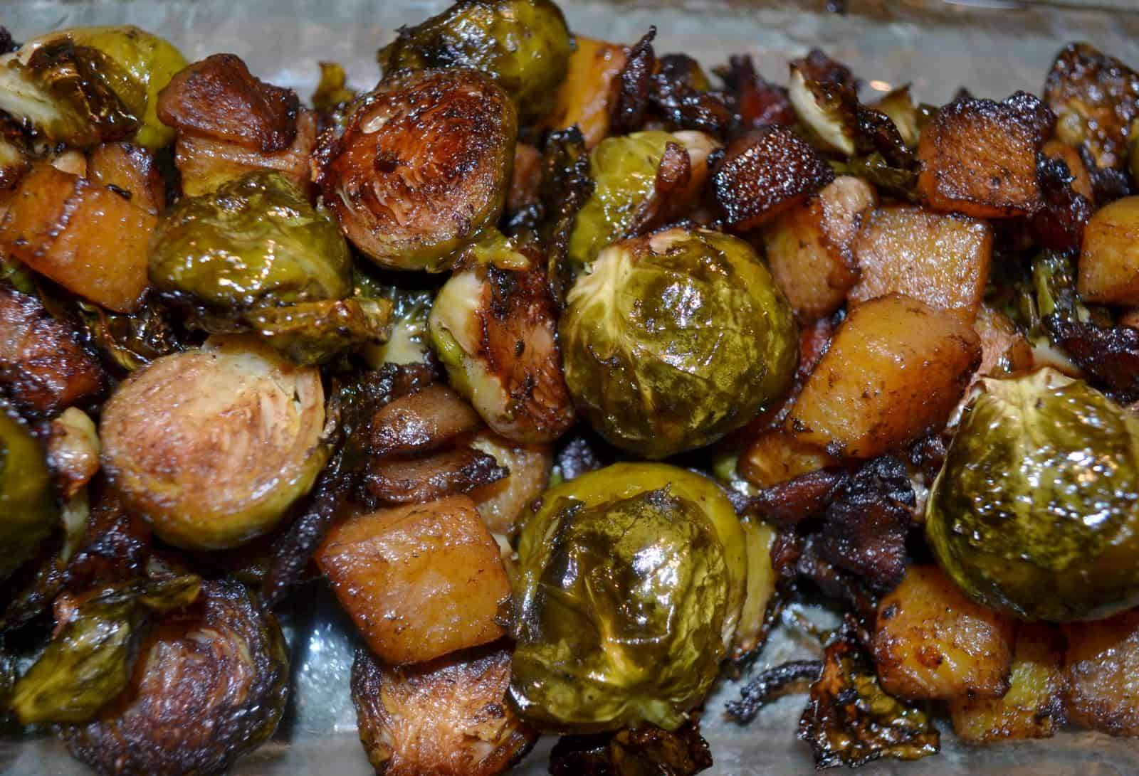 Roasted Brussel Sprouts and Butternut Squash with bacon is one of my favorite roasted vegetable recipes.
