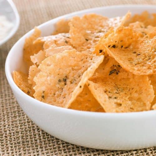 bowl of parmesan crisps