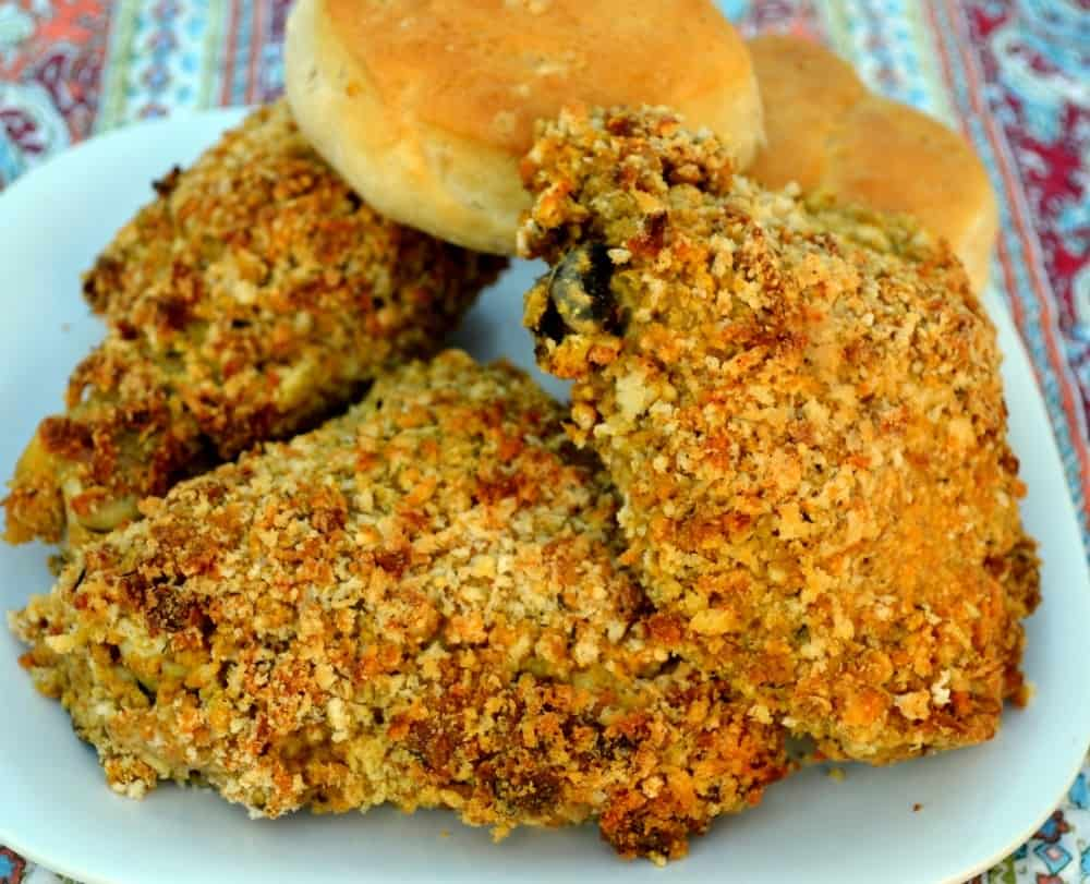 a plate of oven fried chicken