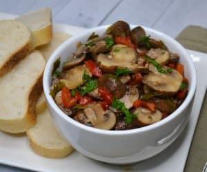 marinated mushroom salad with bread
