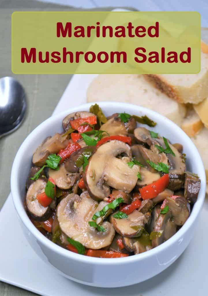 a bowl of marinated mushroom salad