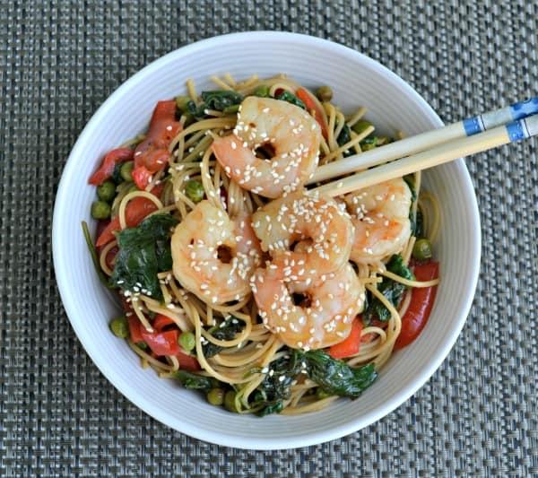 Asian Noodle Bowl with shrimp