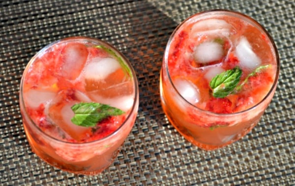 two strawberry mojitos ready for serving