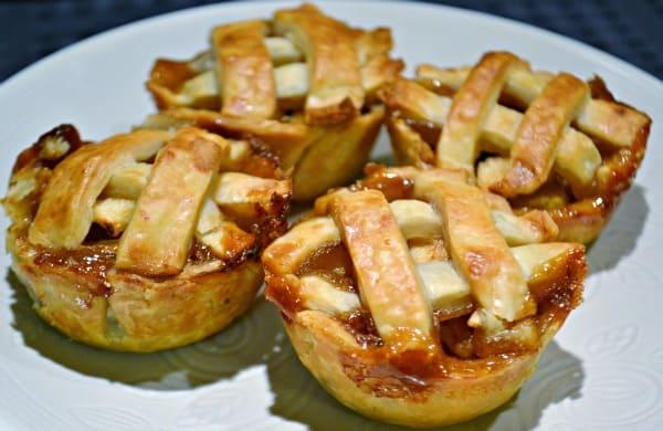 A plate of Mini Caramel Apple Pies