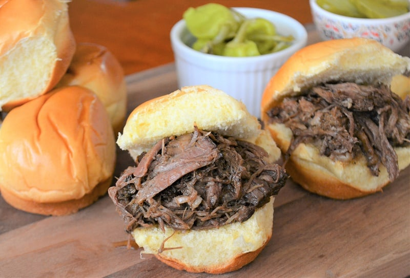 Slow cooker shredded beef and beer sliders