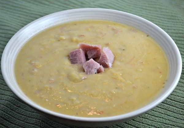 split pea soup made with ham bone