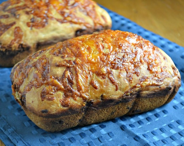 Two mini loaves of Cheesy Beer Bread