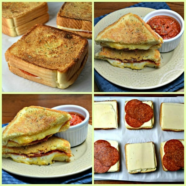 steps in making pepperoni pizza grilled cheese