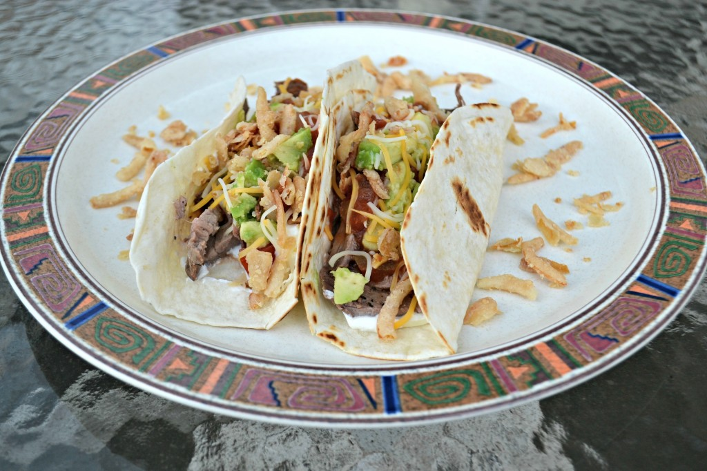 steak and crispy onion tacos