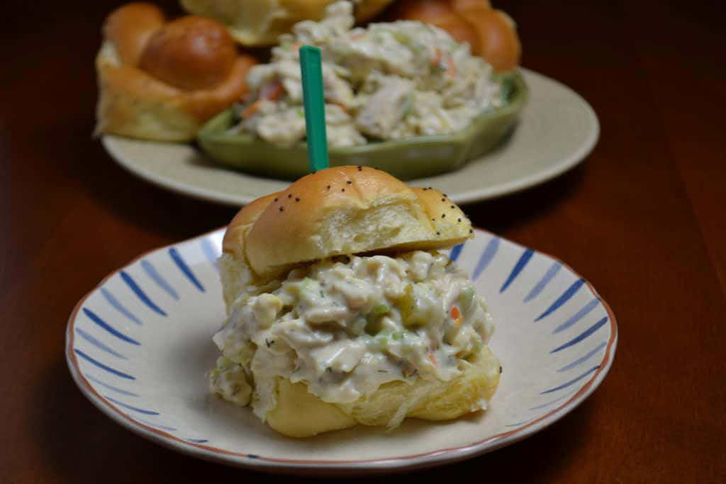 shredded chicken salad with dill pickles on mini rolls