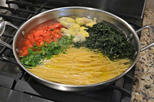 uncooked pasta pot