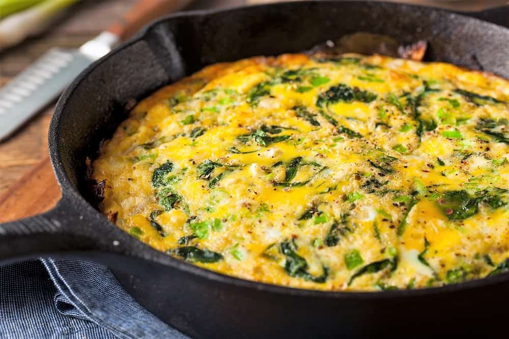 close up of a frittata