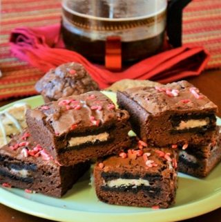 a plate of peppermint brownies