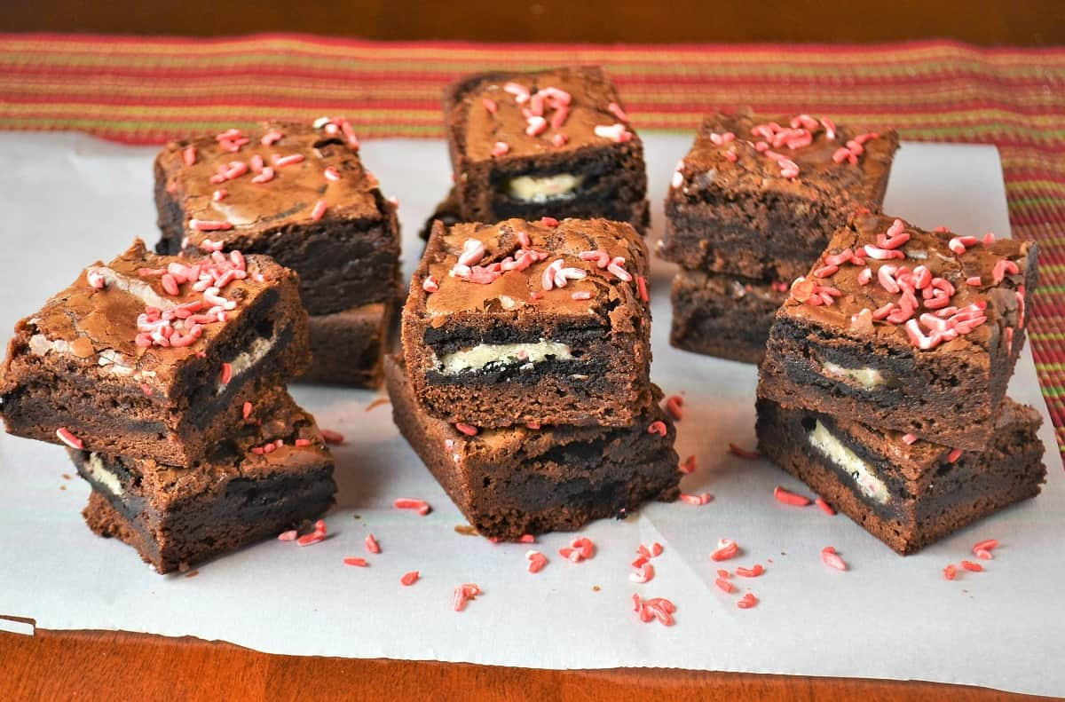 a stack of holiday brownies