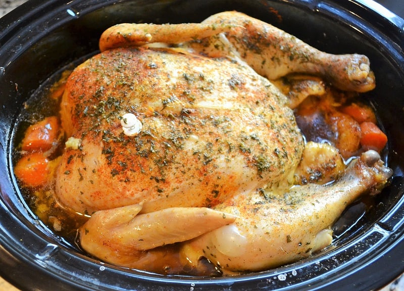 roaster chicken cooking in the slow cooker
