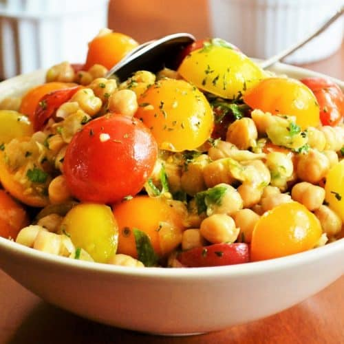 bowl of tomato chick pea salad
