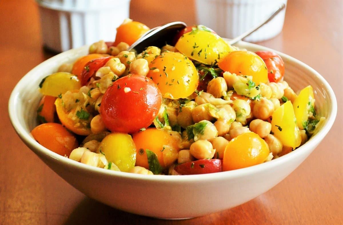 bowl of vegan tomato chick pea salad