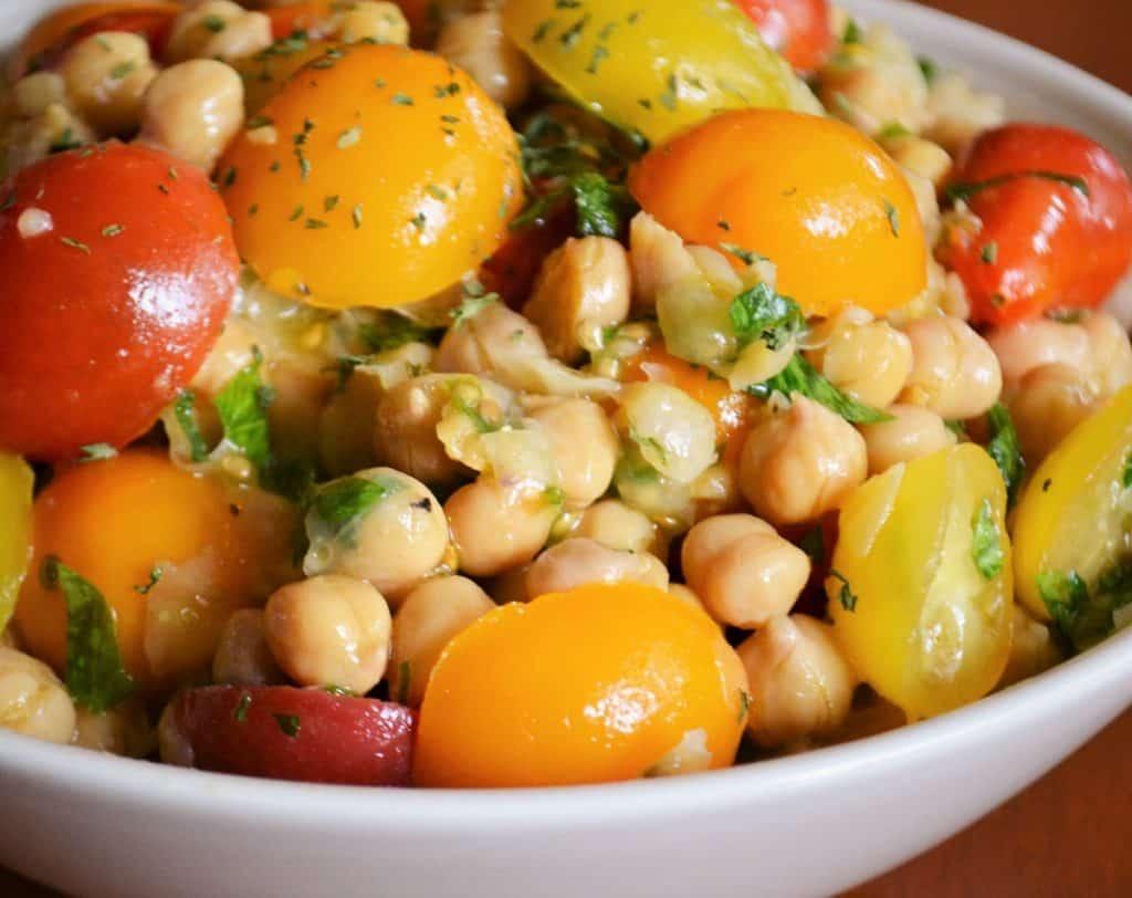 tomato chick pea salad in a bowl