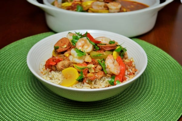 Healthy Jambalaya is easy to make in the slow cooker.