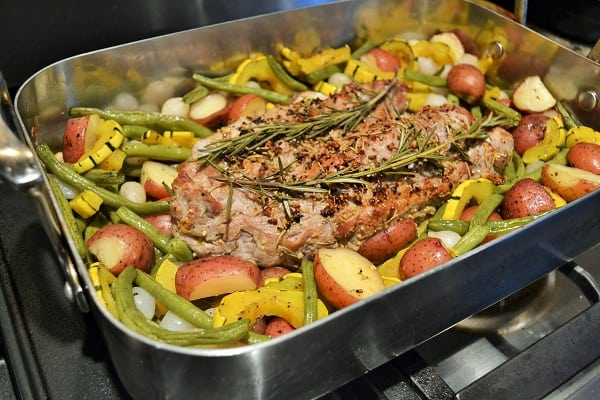roasted pork tenderloin with delicata squash vegetable medley