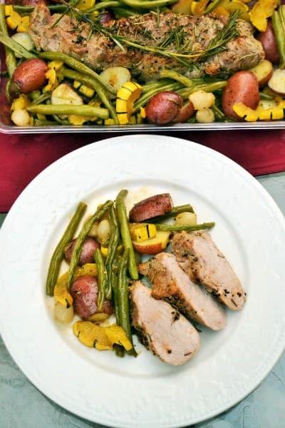 pork tenderloin and veggies on a plate