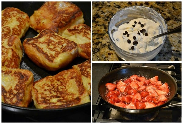 steps for making Strawberry Cannoli French Toast Sliders