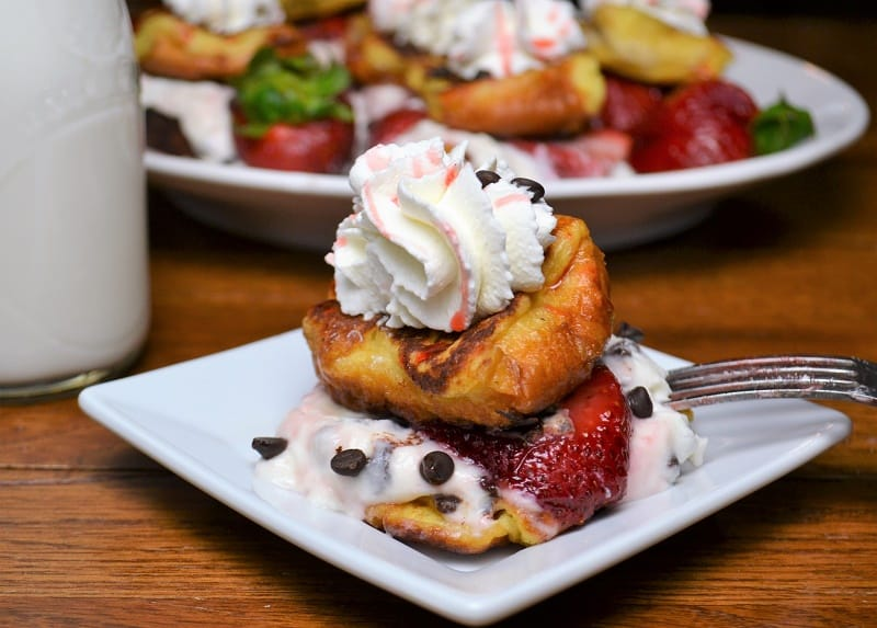 Strawberry French Toast Slider with cannoli cream on a plate
