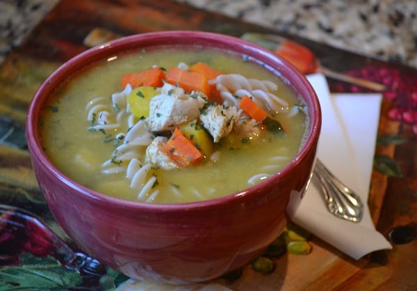 gluten free chicken noodle soup bowl