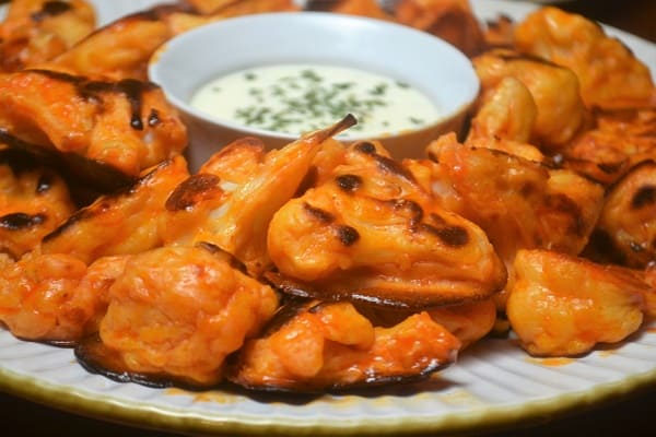 a plate of baked Buffalo Cauliflower