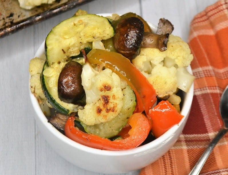 bowl of oven roasted vegetables