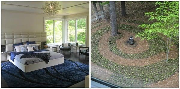bedroom and zen garden in Philadelphia Magazine home tour