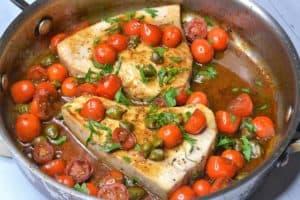 pan of swordfish