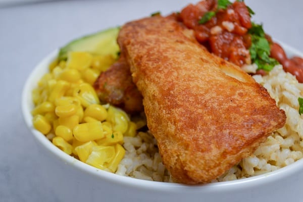Using frozen fish is a great way to make taco bowls.