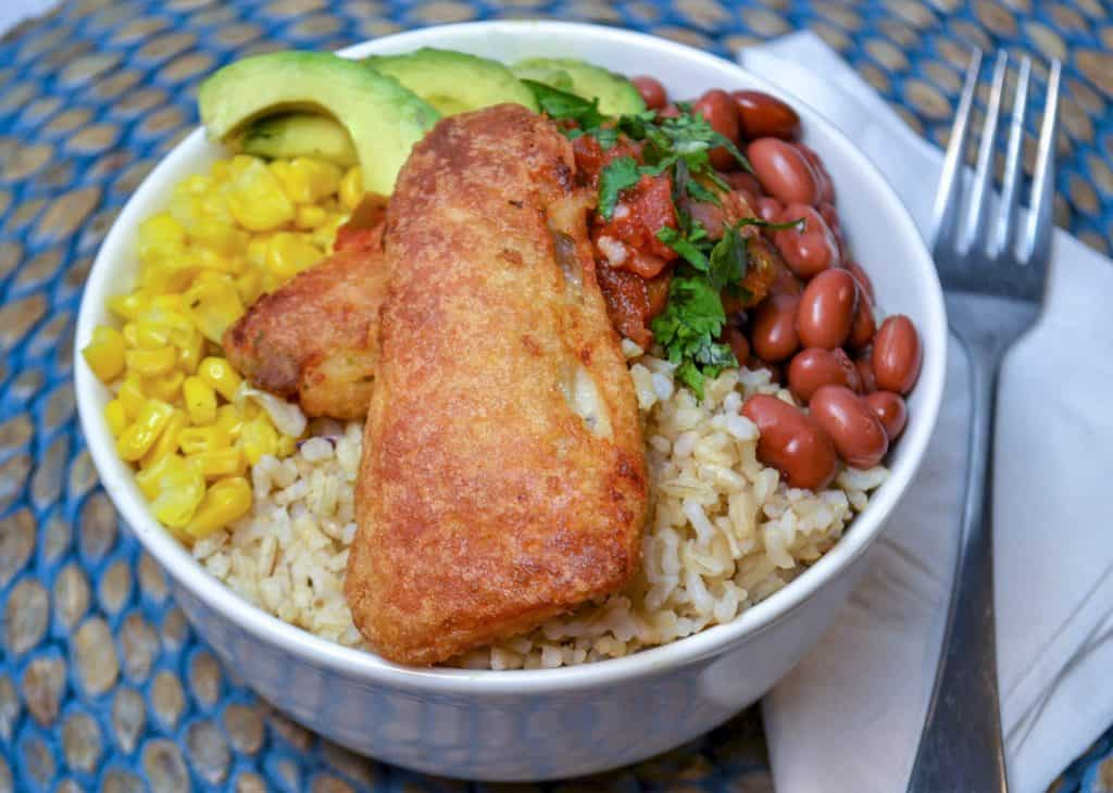 A delicious Fish Taco bowl with Gortons frozen fish filets , rice and toppings
