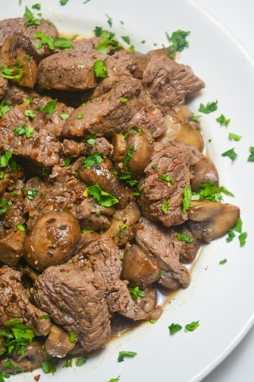 Beef Tenderloin Tips with mushrooms looks beautiful on a plate.