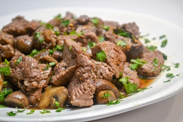 Beef Tenderloin Tips and Mushrooms