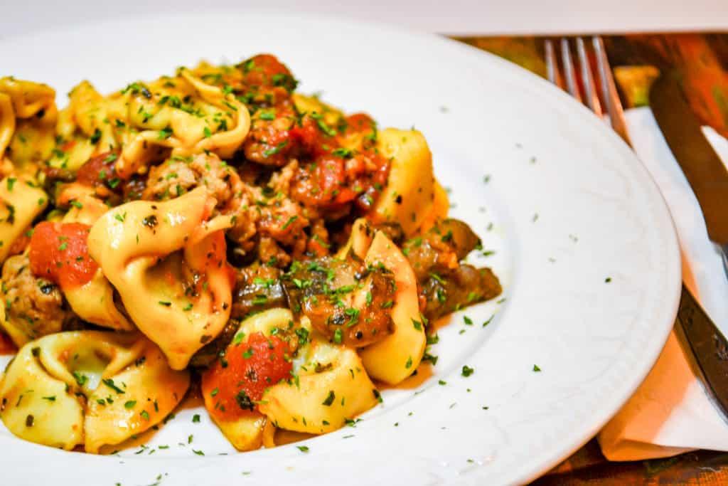 plate of sausage mushroom tortellini