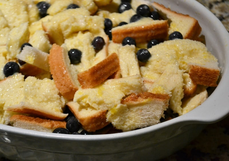 Blueberry stuffed French toast casserole before going into the oven