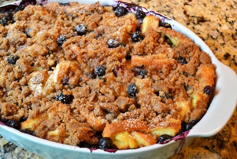 Blue berry French Toast Casserole in a casserole dish
