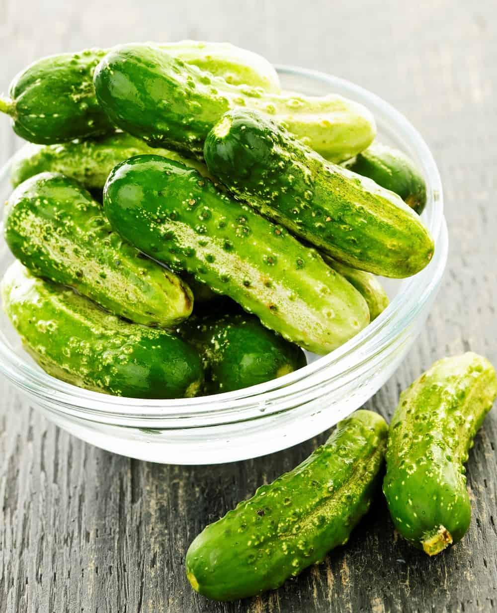 a beautiful bowl of fresh cucumbers