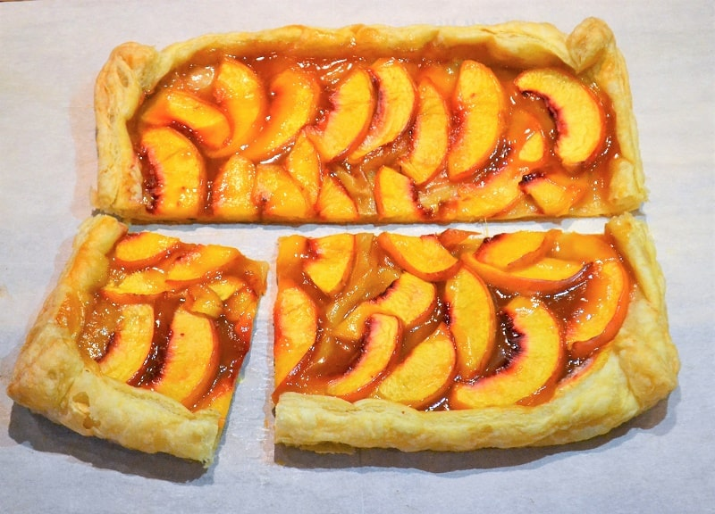 freshly baked nectarine tart