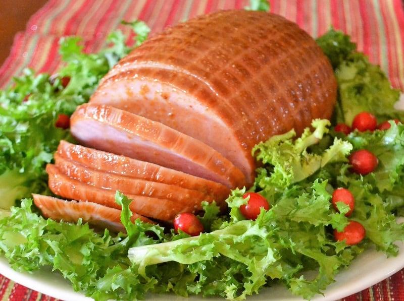 holiday ham on a platter