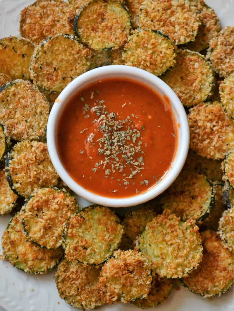 a plate of crispy oven fried zucchini