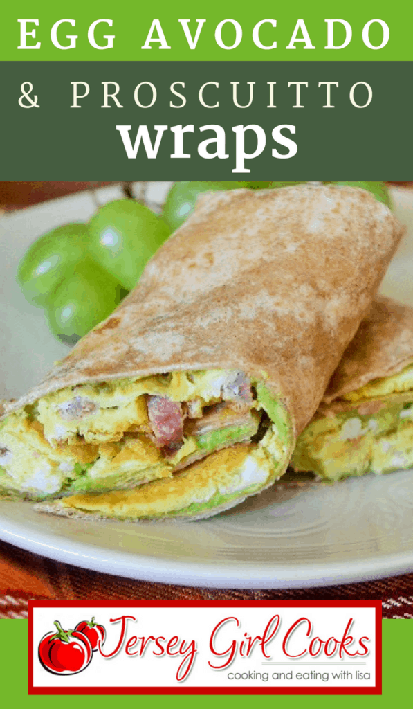 breakfast wrap with eggs and prosciutto
