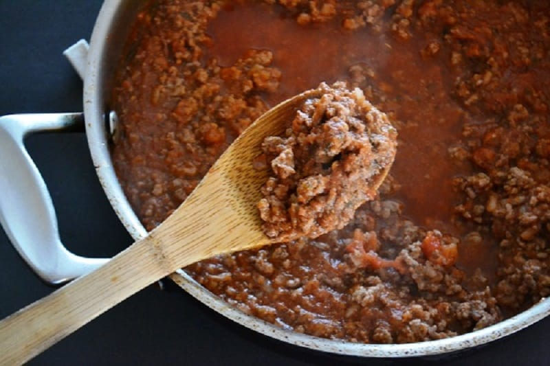 pan of Bolognese sauce
