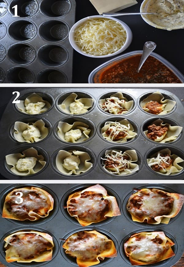 Steps 1,2 and 3 to assemble Mini Lasagna Bolognese
